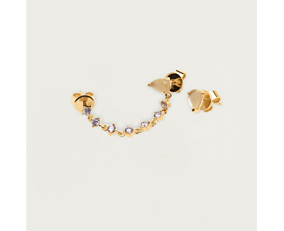 Asymetrické pozlacené náušnice ze stříbra JOANNE Gold AR01-245-U