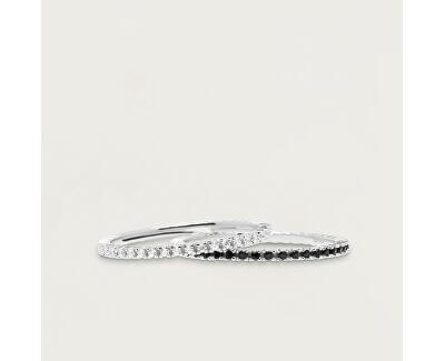 Minimalistický prsten ze stříbra s černými zirkony Black Essential Silver AN02-348