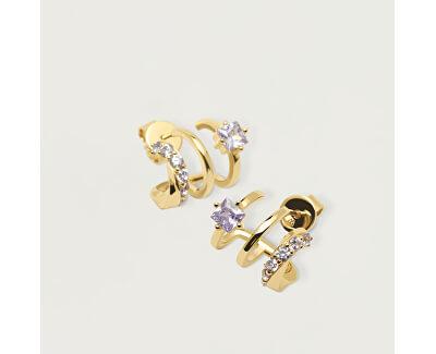 Pozlacené náušnice ze stříbra s třpytivými zirkony ROYAL Gold AR01-246-U