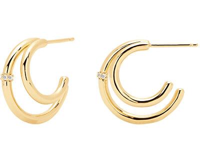 Dvojité pozlacené náušnice kruhy s čirými zirkony SOLSTICE Gold AR01-106-U