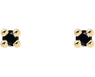 Minimalistické náušnice ze stříbra s černými zirkony BLACK ESSENTIA Gold AR01-093-U