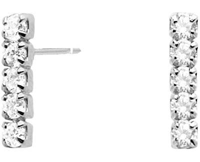 Minimalistické náušnice ze stříbra s třpytivými zirkony KIRA Silver AR02-072-U