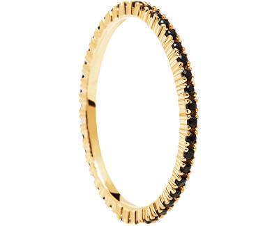Minimalistický pozlacený prsten s černými zirkony Black Essential Gold AN01-348