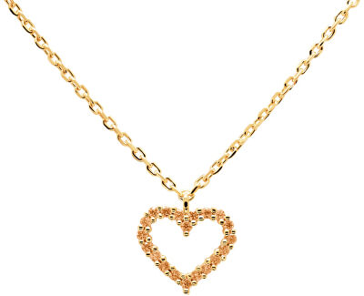 Něžný pozlacený náhrdelník se srdíčkem Champagne Heart Gold CO01-222-U (řetízek, přívěsek)