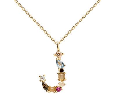 """Pozlacený náhrdelník ze stříbra písmeno """"J"""" se zirkony CO01-105-U (řetízek, přívěsek)"""