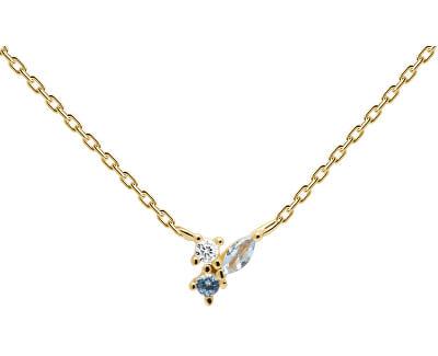 Pozlacený náhrdelník ze stříbra se zirkony MIDNIGHT BLUE Gold CO01-176-U