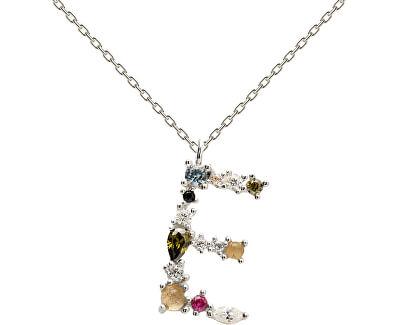 """Stříbrný náhrdelník písmeno """"E"""" se zirkony CO02-100-U (řetízek, přívěsek)"""