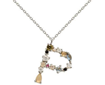 """Stříbrný náhrdelník písmeno """"P"""" se zirkony CO02-111-U (řetízek, přívěsek)"""