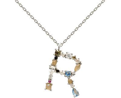 """Stříbrný náhrdelník písmeno """"R"""" se zirkony CO02-113-U (řetízek, přívěsek)"""