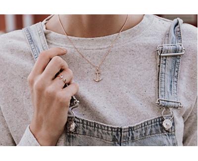 Ružovo pozlátený strieborný náhrdelník s kotvou PH-AN-R (retiazka, prívesok)