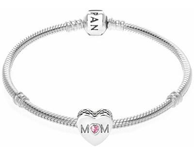 Accesoriu din argint cu un cristal roz - brățară tip PANDORA Mom 791881PCZ