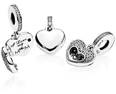 Pandantiv din argint Inimă, cu deschidere -I love my mom 792071CZ