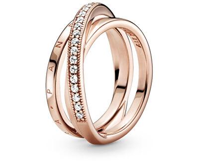 Bronze verflochtener Ring mit Zirkonen Pavé 189057C01