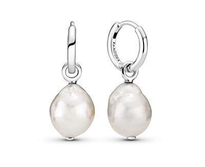 Něžné stříbrné náušnice s pravými barokními perlami 2v1 299426C01