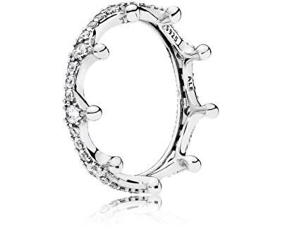Překrásný stříbrný prsten Začarovaná koruna 197087CZ - SLEVA