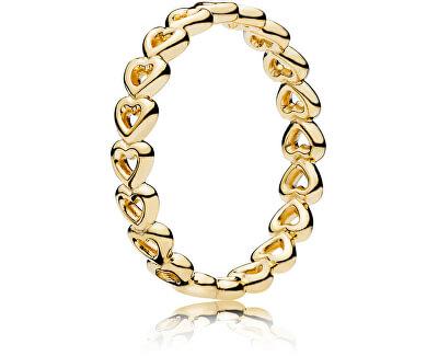 Srdiečkový prsteň z pozláteného striebra 167105