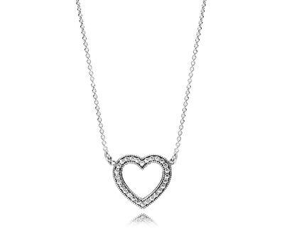 Strieborný náhrdelník Milujúci srdce 590534CZ-45