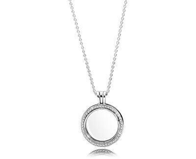 Strieborná náhrdelník s medailónom na elementy 396484CZ-60 (retiazka, prívesok)