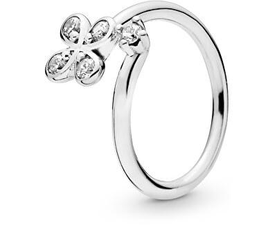 Strieborný prsteň s kvetom 197988CZ