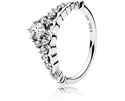 Třpytivý stříbrný prsten Diadém 196226CZ