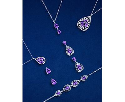 Elegantný strieborný náramok Lyra Violet 5262 56