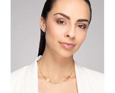 Luxusní pozlacený náhrdelník Straight s čirým křišťálem Preciosa 7390Y00