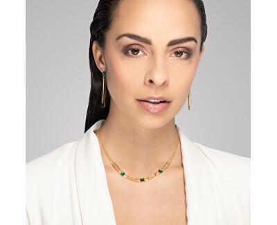 Luxusní pozlacený náhrdelník Straight se zeleným křišťálem Preciosa 7390Y66