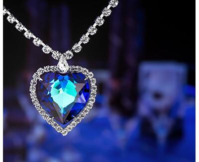 Nádherný náhrdelník modré srdce s českým křišťálem 2025 46