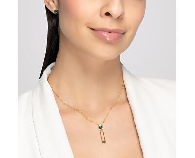 Pozlacený ocelový náhrdelník Straight se zeleným křišťálem Preciosa 7391Y66