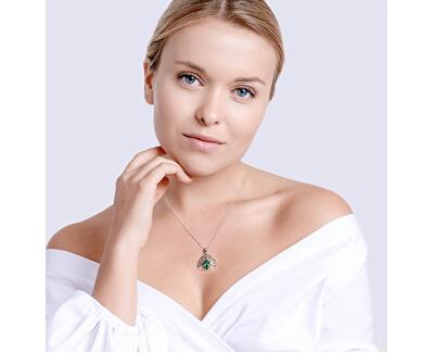 Strieborný náhrdelník so zirkónmi Green Tree of Life 5220 68 (retiazka, prívesok)