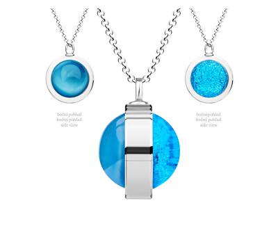 Unikátny strieborný náhrdelník Singularis Akva 6116 67 (retiazka, prívesok)