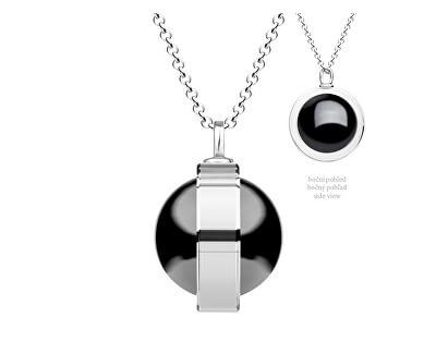 Unikátny strieborný náhrdelník Singularis Hematit 6116 48 (retiazka, prívesok)