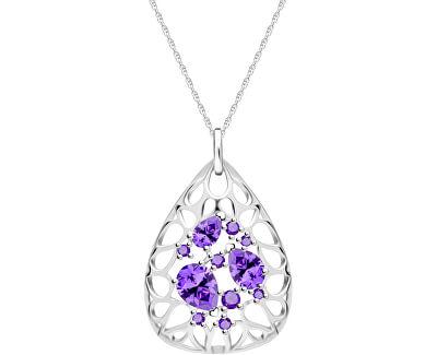 Elegantný strieborný náhrdelník Lyra Violet 5260 56 (retiazka, prívesok)