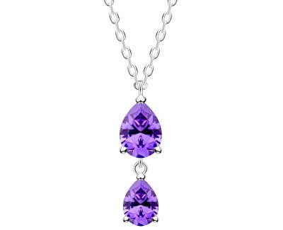 Jemný strieborný náhrdelník Lyra Violet 5264 56 (retiazka, prívesok)