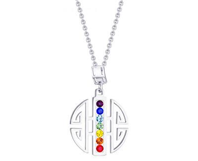 Colier din oțel cu cristale colorate Keren 7296 70