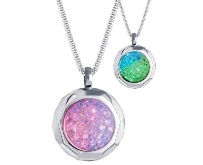 Edelstahl Halskette mit Kristallen Duo Colour 7313 70