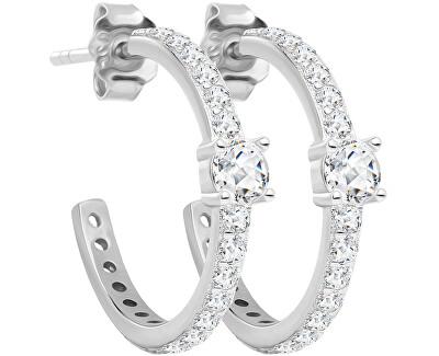 Oslnivé stříbrné náušnice kruhy Shiny Kimberly s kubickou zirkonií Preciosa 5328 00