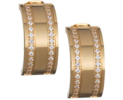 Cercei placate cu aur, cu cristale clare Mia 7225Y00