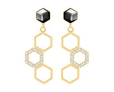 Cercei din oțel placați cu aur cu cristal Honeygon 7381Y48