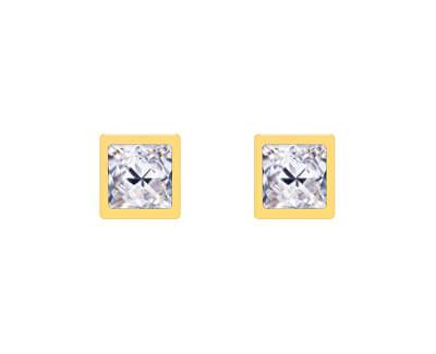 Pozlacené peckové náušnice Straight s čirým křišťálem Preciosa 7392Y00