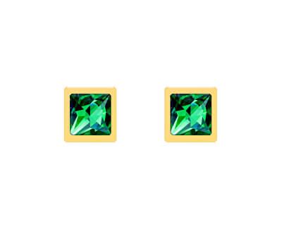 Pozlacené peckové náušnice Straight se zeleným křišťálem Preciosa 7392Y66