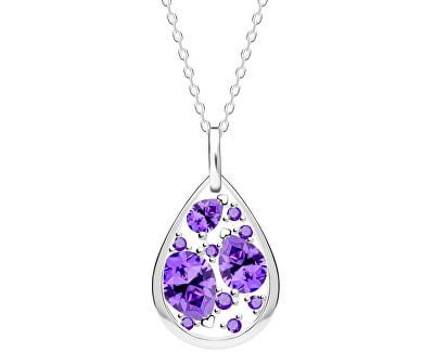 Zmyselný strieborný náhrdelník Lyra Violet 5263 56 (retiazka, prívesok)