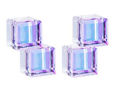Silber Ohrstecker mit Kristallen Crystal Cubes 6063 43