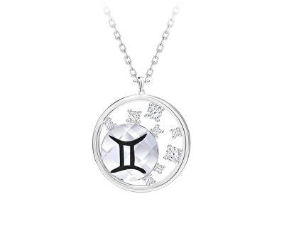 Stříbrný náhrdelník s českým křišťálem Blíženci Sparkling Zodiac 6150 86 (řetízek, přívěsek)