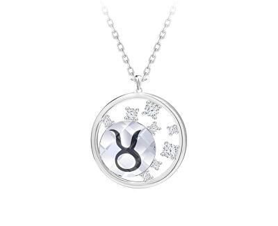 Stříbrný náhrdelník s českým křišťálem Býk Sparkling Zodiac 6150 85 (řetízek, přívěsek)