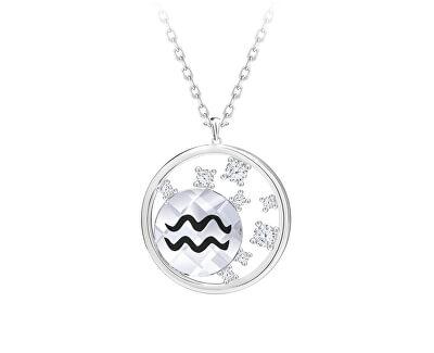 Stříbrný náhrdelník s českým křišťálem Vodnář Sparkling Zodiac 6150 82 (řetízek, přívěsek)
