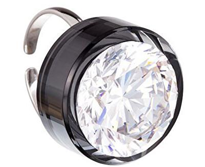 Inel de argint cu un mare cristal Brilliant stele Negru 5197 40