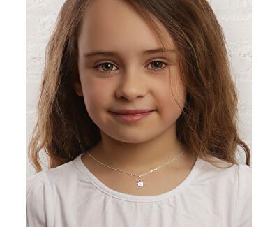 Dětský stříbrný náhrdelník Růžová korunka KO6492_BR030_40_RH (řetízek, přívěsek)