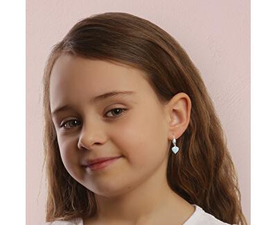 Dívčí stříbrné náušnice Modré srdce NA6488_RH