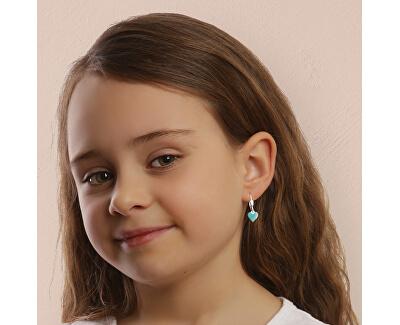 Dívčí stříbrné náušnice Tyrkysové srdce NA6487_RH